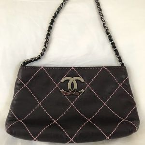 Authentic Chanel Purple Lambskin Pochette Wallet
